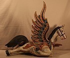 Early 20thc Indonesian wood Pegasus carving