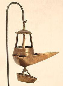 18thc Greek brass Olive oil hanging lamp