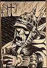 Modern Art black and white wood block print Soldier with a cat