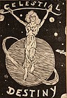"Black and White wood block print ""Celestial Destiny"" T Le Tigre 07"