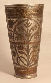 Antique Indian Tinned Bronze tall cup with etched designs