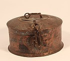 1800�s Antique Old Brass Hand Carved Indian Badmeri Chapati box
