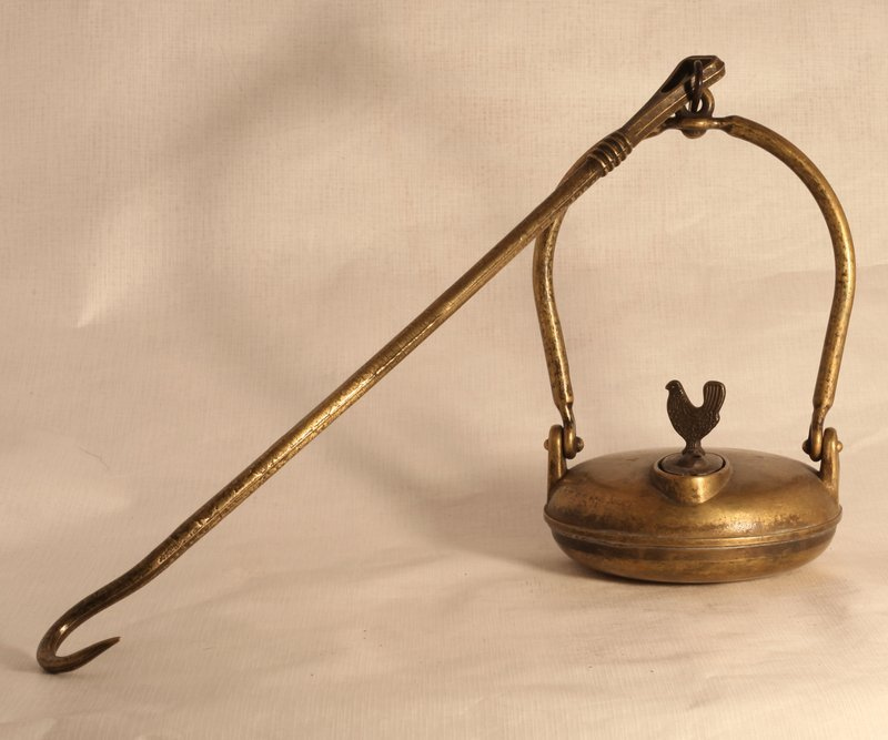 Fine quality cast Brass Betty Lamp with Rooster finial