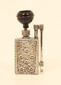 Unique Art Deco cast Silver alloy Pocket water Pipe