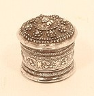 Antique Burmese repousse Silver Container with  Frogs on top