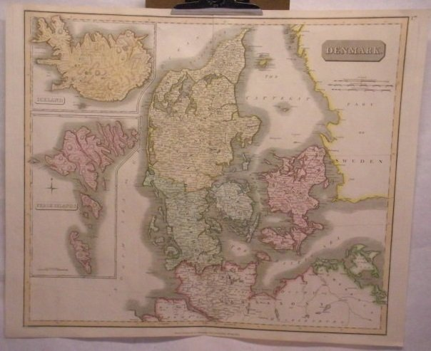 Antique map of Denmark printed in 1814