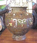 Antique Japanese champleve enamel bronze vase