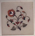 Pietra dura grand tour white marble inlaid plaque