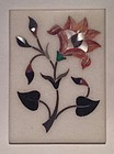Pietra dura grand tour white marble inlaid plaque with flowers