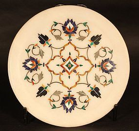 Ornate Pietra dura grand tour white marble inlaid plaque