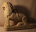 India 17th-18thc Hindu  Golden sandstone carved Lion Sculpture