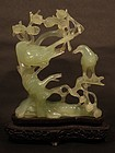 Vintage Chinese Bowenite green stone carving of Birds on Tree Branches