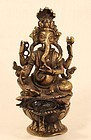 Nepalese Lost Wax Cast Hindu God Ganesha Oil Lamp