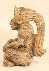 Un Researched Mayan Style Gold Stone Seated figure of a  Lord