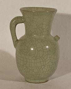 Yuan Style Crackle Glazed Celadon Wine Pitcher