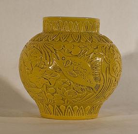 19-20thc Chinese Molded Egg yolk Glazed vase with Aquatic Designs
