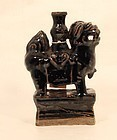 Chinese Ming Style Brown Glazed Foo Dog Candle Stick