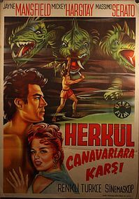 Turkish Lithograph Poster of Hercules Jane Mansfield Micky Hargitay