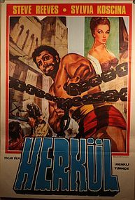 Vintage Turkish Steve Reeves Movie Poster Hercules