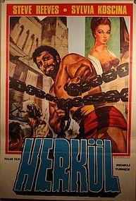 Vintage Turkish Steve Reeves Movie Poster Hercules