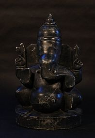 Hindu Temple Figure in Black Stone of Lord Ganesha Deco styling