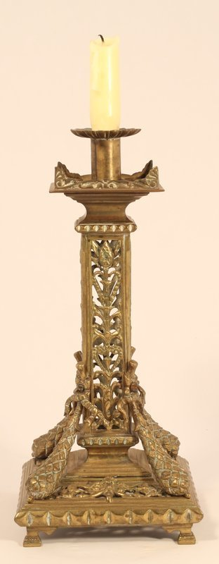 Continental Ornate Brass Candlestick in the Classical Taste