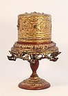 Buddhist Burmese or Thai Bamboo Wood Gilt Offering stand with Box