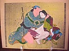 Japanese Shunga Print with Silver and Gold Dust color and water Color