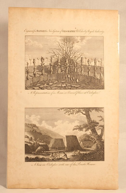 "Capt Cook "" Morai Burial Place Owhyhee A view of a Priests House"""