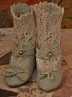 Rare French Aqua Silk Sateen Jumeau Shoes with Socks