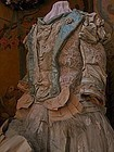 Superb French Bebe Antique Silk Sateen Costume with Bonnet
