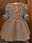 Pretty Silk and Velvet French BeBe Costume with Bonnet