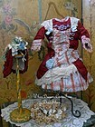 Marvelous French Jumeau Red Silk Costume with Bonnet