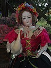 Stunning French Bisque Poupee with Fancy Costume