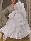 Superb Antique French Poupee Muslin Gown with Slip