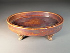 Chinese stoneware footed dish