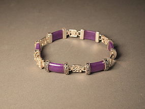 Chinese lavender jade and silver bracelet
