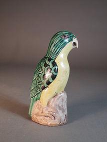 Chinese enamel glazed stoneware parrot