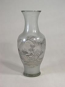 Chinese Beijing glass vase with landscape