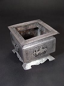Korean silver-inlaid iron brazier with deer and cranes