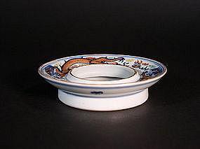Chinese porcelain doucai enameled tea bowl stand