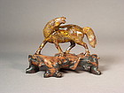 Chinese tiger eye horse on stand