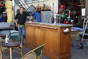 French Zinc Top Bar with Nickle Trim and Pewter 1900