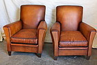 Fountainbleu Flair French Leather Club Chair pair
