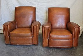 French Leather Club Chairs - Trouville Square Pair