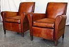 French Leather Club Chairs - La Fresse Slopeback Pair