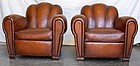 Vintage French Club Chairs - Cannes Cloverback Pair