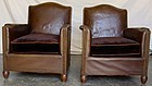 French Leather Club Chairs - Pont l'Eveque Dark Nailed