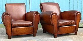 French Club Chairs Deauville Rollback Original Leather