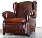 French Leather Quimper Wingback Club Chair